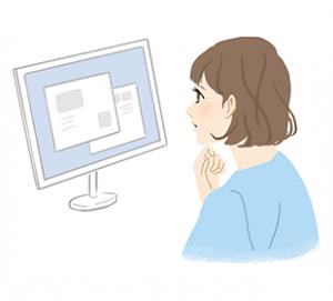 ネットの口コミを探す女性