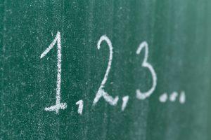 黒板に書かれた1,2,3の数字