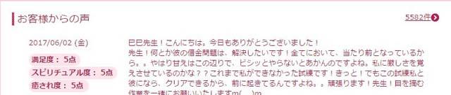 巳巳先生にお礼の投稿をする相談者のレビュー