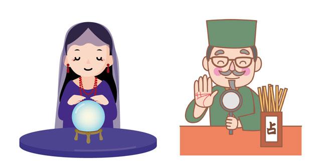 女性占い師と男性占い師のイメージイラスト