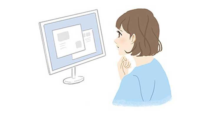 ネットで口コミを参考にする女性イメージ