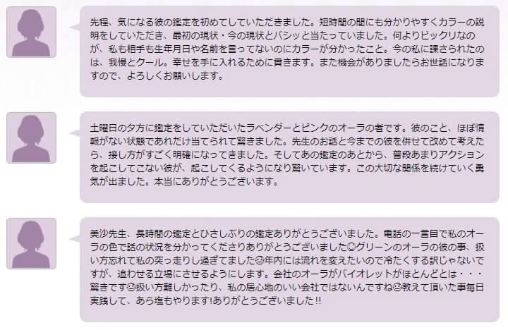 公式サイトで紹介されている美沙先生の口コミレビュー1